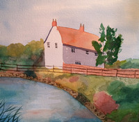 English Cottage 10 x 13 framed $75