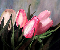 AVAILABLE. Spring Tulips, on 20 x 24 stretched canvas $200