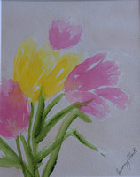 AVAILABLE. Tulips. Watercolor. 8x10 in an 11x14 Mat $25