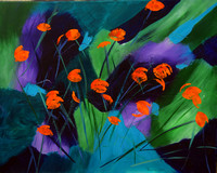 AVAILABLE. Abstract poppies. Acrylic on 24x30 stretched canvas, $250