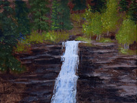 AVAILABLE. Colorado waterfall, Acrylic 8x10 board, $25